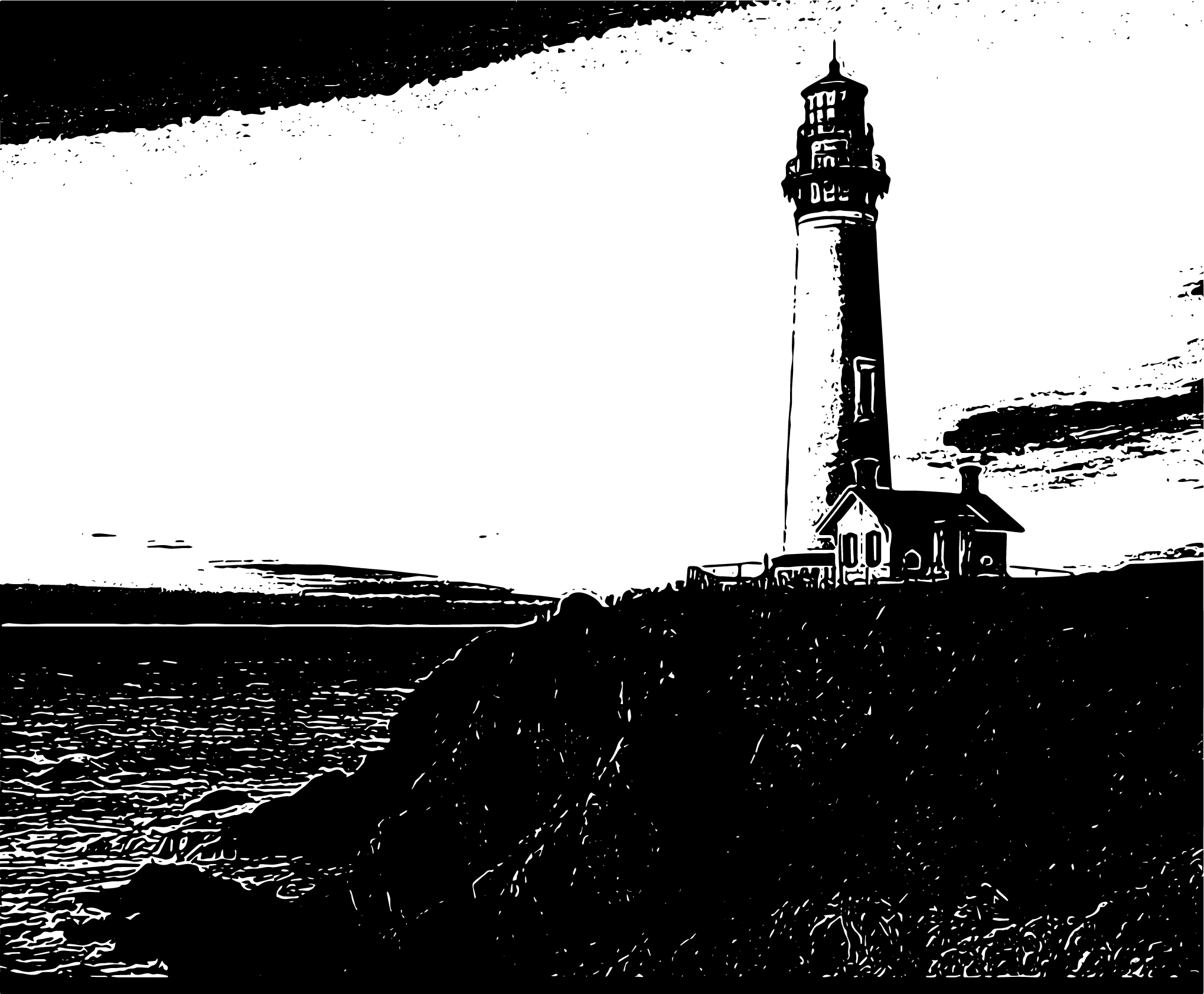 Black and white silhouette image of a lighthouse looking out to sea